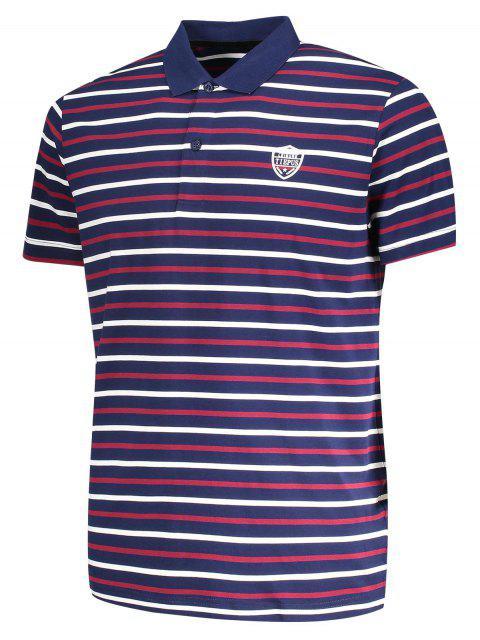 women Stripe Polo Shirt - PURPLISH BLUE L Mobile