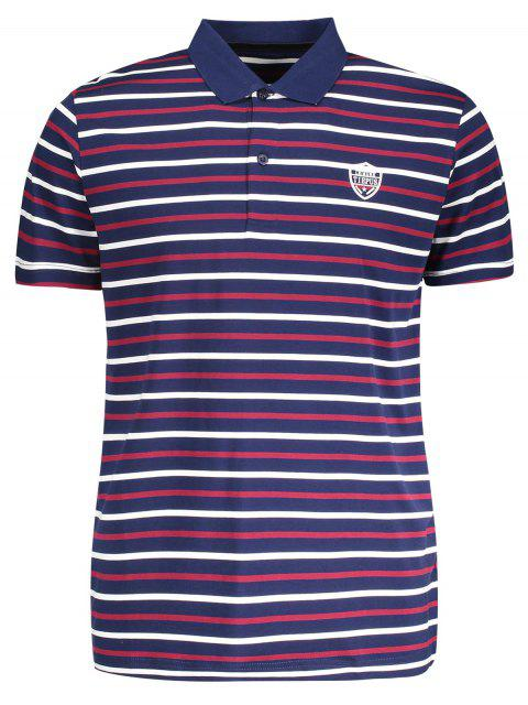 women Stripe Polo Shirt - PURPLISH BLUE L Mobile
