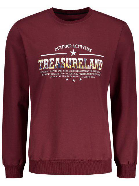 online Treasureland Graphic Crew Neck Sweatshirt - DARK RED 2XL Mobile