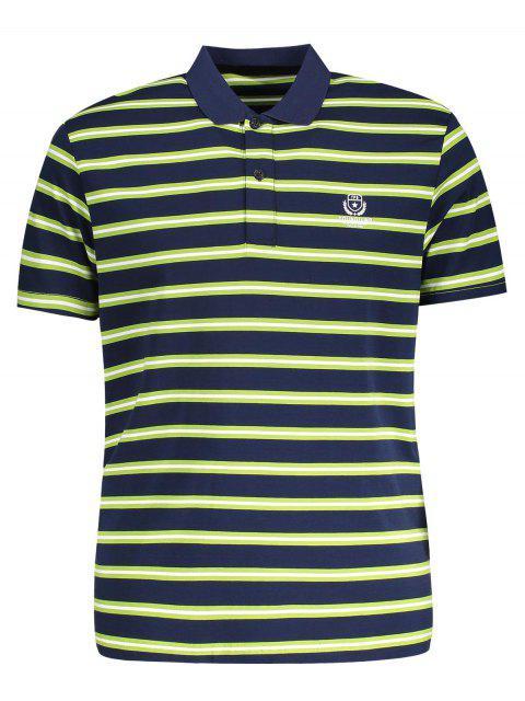T-Shirt Polo à Rayures - Herbe Verte XL Mobile