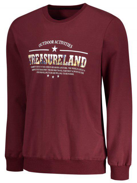 hot Treasureland Graphic Crew Neck Sweatshirt - DARK RED XL Mobile