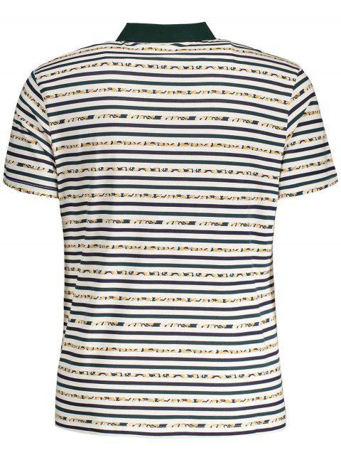 latest Pocket Striped Polo Shirt - WHITE 2XL Mobile