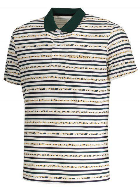 fancy Pocket Striped Polo Shirt - WHITE L Mobile