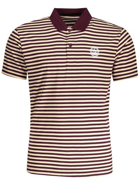womens Striped Polo T-shirt - STRIPE L Mobile
