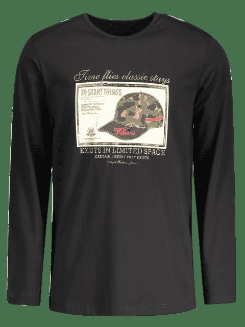 best Mens Graphic Long Sleeve T-shirt - BLACK XL Mobile
