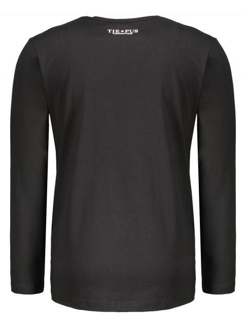 T-shirt à manches longues graphique pour homme - Noir XL Mobile