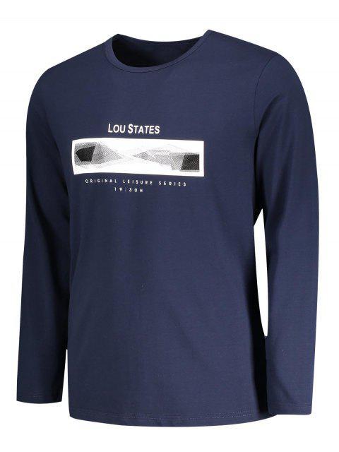 new Lou States Graphic Long Sleeve T-shirt - PURPLISH BLUE 2XL Mobile