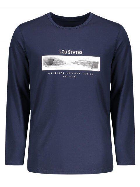 T-shirt à Message à Manches Longues - Bleu Violet 2XL Mobile