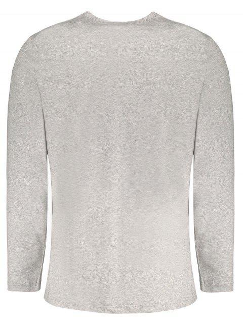 T-shirt manches longues à manches courtes à manches courtes - Gris 2XL Mobile