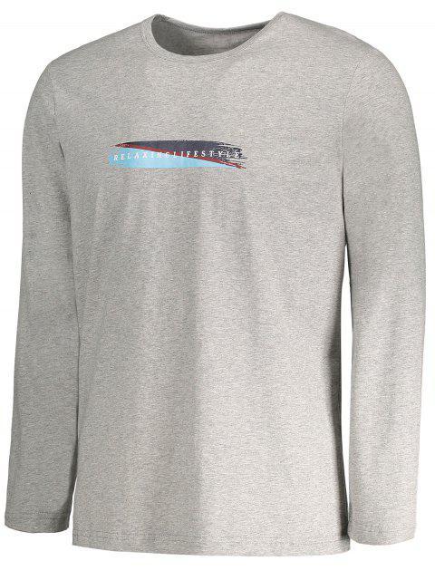 T-shirt manches longues à manches courtes à manches courtes - Gris XL Mobile