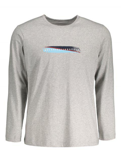 trendy Graphic Marled Mens Long Sleeve T-shirt - GRAY L Mobile
