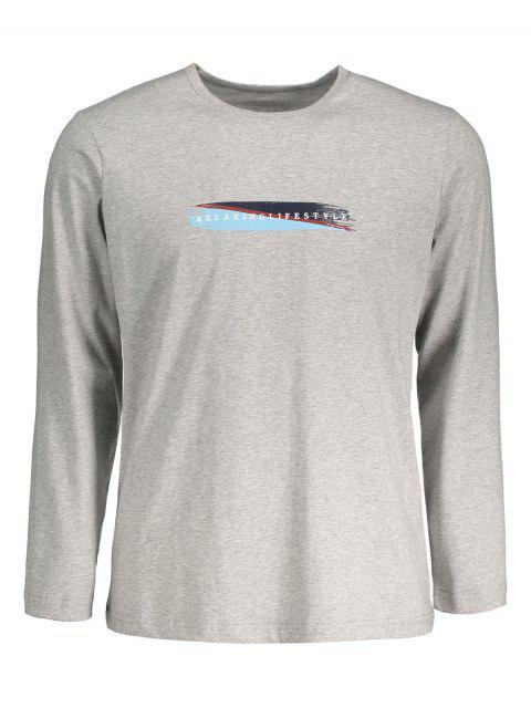 T-shirt Gris Chiné à Motif - Gris L Mobile