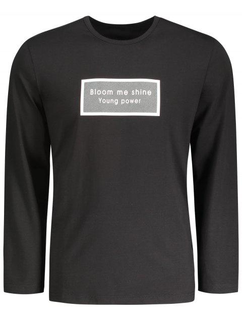 chic Letter Graphic Long Sleeve T-shirt - BLACK 2XL Mobile