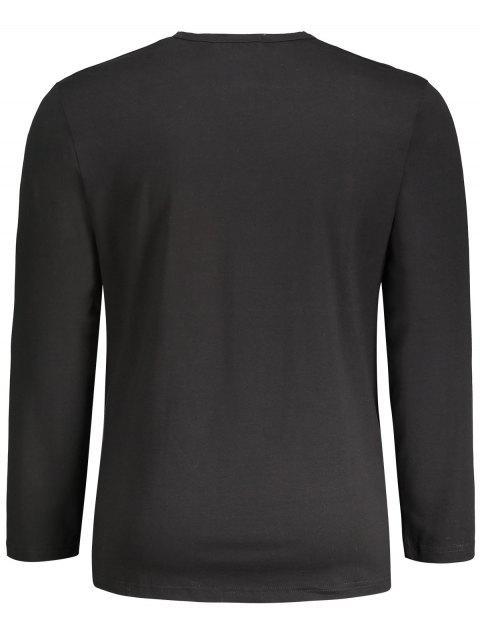 unique Letter Graphic Long Sleeve T-shirt - BLACK XL Mobile