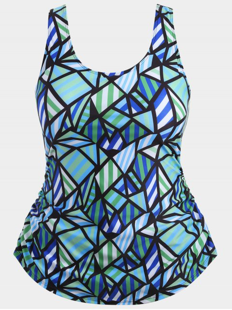 online Overlay Geometric Pattern Plus Size Swimwear - COLORMIX 3XL Mobile