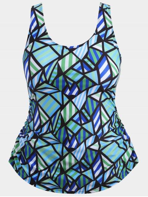 hot Overlay Geometric Pattern Plus Size Swimwear - COLORMIX 2XL Mobile