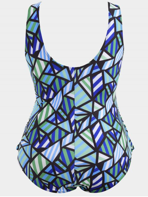 outfit Overlay Geometric Pattern Plus Size Swimwear - COLORMIX XL Mobile