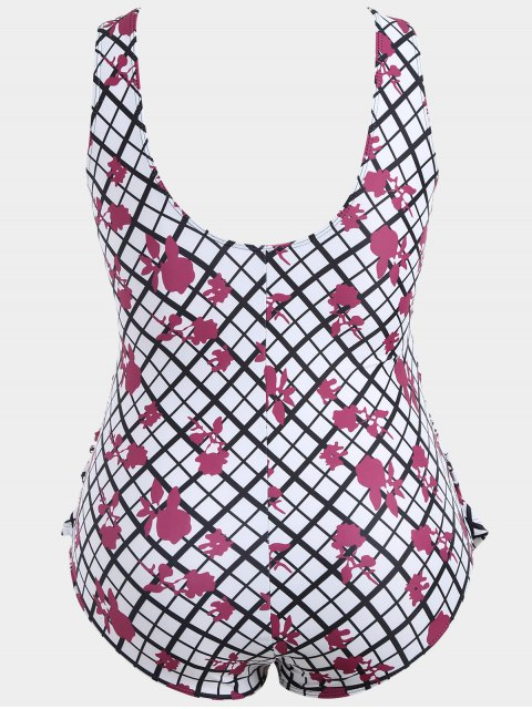 shops Overlay Grid Print Plus Size Swimwear - WHITE 3XL Mobile