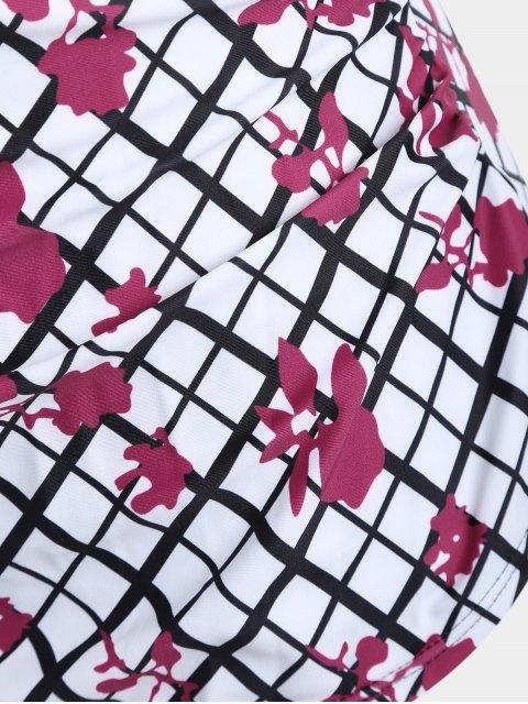 latest Overlay Grid Print Plus Size Swimwear - WHITE 2XL Mobile