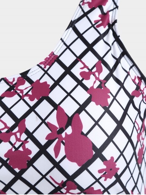Maillot de bain de taille supérieure Overlay Grid Print - Blanc XL Mobile