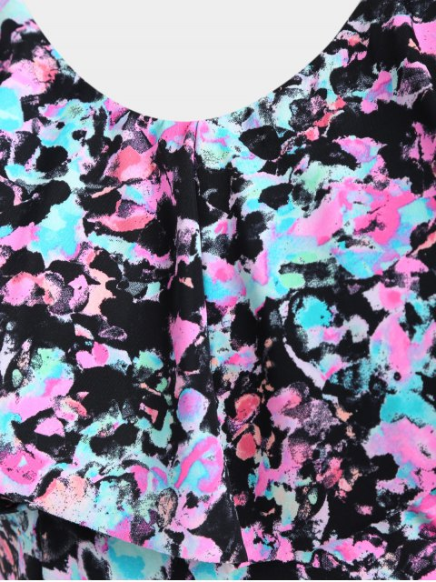 unique Overlay Printed Skirted Plus Size Swimwear - COLORMIX 3XL Mobile