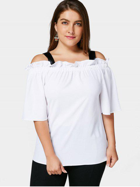 outfits Plus Size Ruffles Cold Shoulder Top - WHITE 5XL Mobile