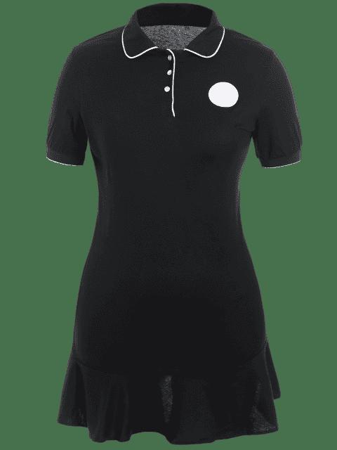 affordable Plus Size Ruffle Polo Dress - BLACK 3XL Mobile
