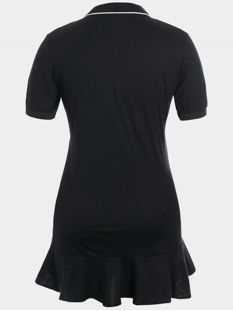 Robe polo à volants taille grande - Noir 4XL Mobile