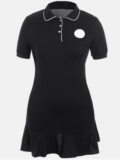 womens Plus Size Ruffle Polo Dress - BLACK 5XL Mobile