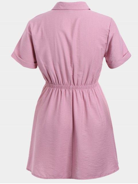 Robe à manches courtes taille grande - ROSE PÂLE 3XL Mobile