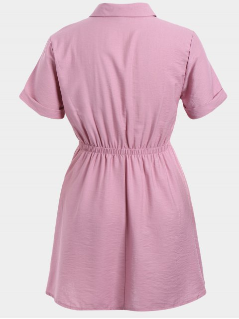 lady Plus Size Cuffed Shirt Dress - PINK 2XL Mobile