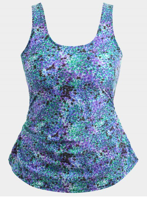 outfits Skirted Heart Print Plus Size Swimwear - COLORMIX 2XL Mobile