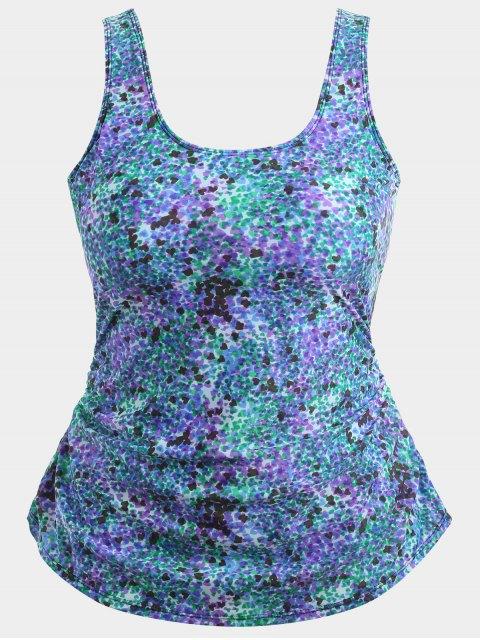 shop Skirted Heart Print Plus Size Swimwear - COLORMIX XL Mobile