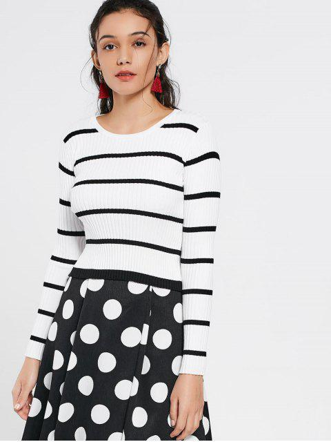 women Open Back Striped Knitted Tee - STRIPE S Mobile