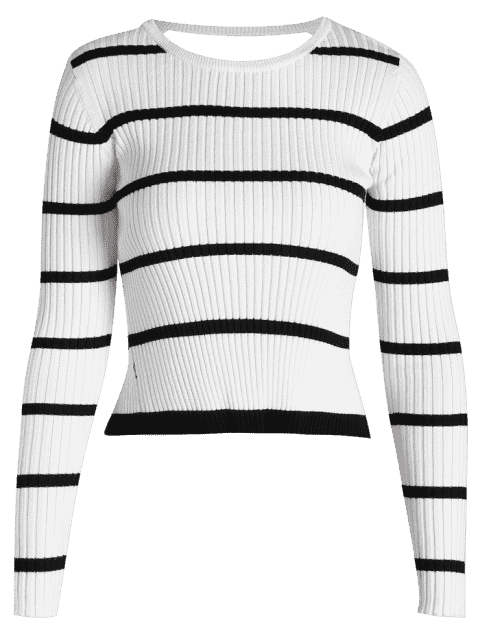 ladies Open Back Striped Knitted Tee - STRIPE L Mobile