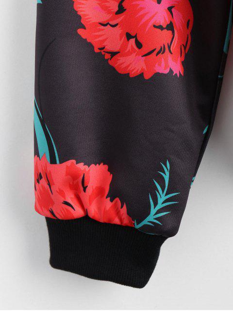 best Zip Up Floral Print Bomber Jacket - FLORAL S Mobile