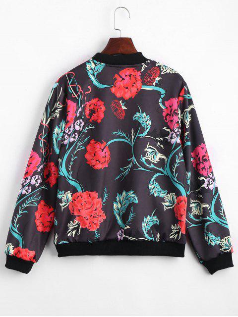 new Zip Up Floral Print Bomber Jacket - FLORAL L Mobile