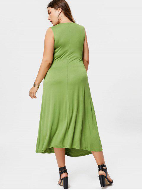 chic Twist Plus Size Dress - GRASS GREEN 4XL Mobile