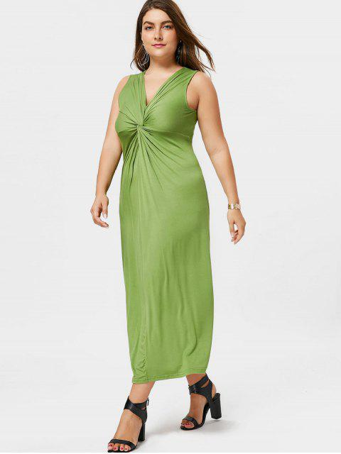 fancy Twist Plus Size Dress - GRASS GREEN 3XL Mobile