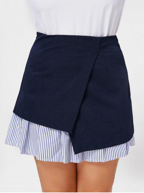 buy Stripe Panel Plus Size Skirt - DEEP BLUE 3XL Mobile