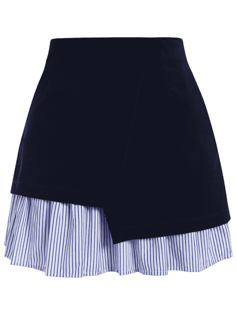 Stripe Panel Plus Size Jupe - Bleu Foncé 4XL Mobile