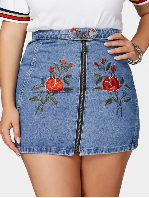 lady Flower Embroidered Plus Size Denim Skirt - BLUE 4XL Mobile