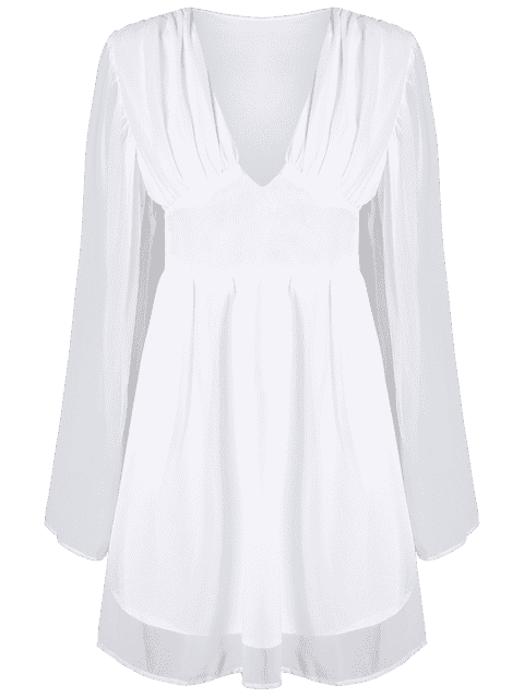 hot Deep V Neck Flare Sleeve Chiffon Dress - WHITE 2XL Mobile