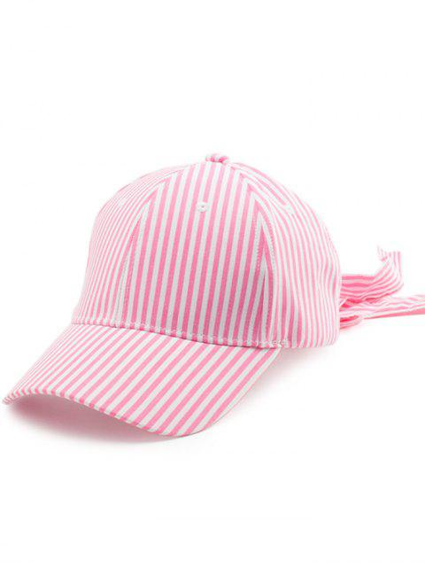 Gestreifter Bowknot Long Tail Baseball Hat - Pink  Mobile
