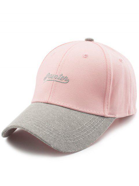 Zwei Ton Briefe Stickerei Baseballmütze - Pink  Mobile