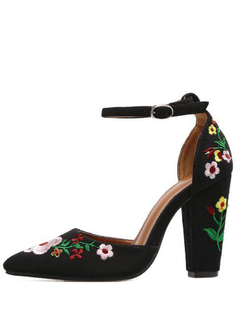 womens Embroidery Block Heel Two Piece Pumps - BLACK 37 Mobile
