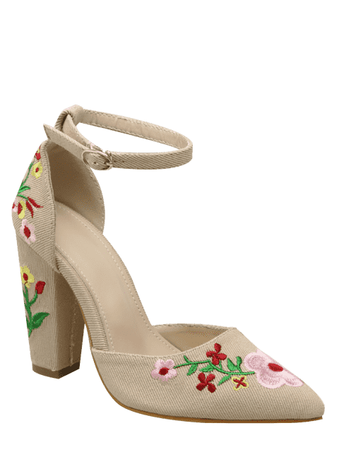 new Embroidery Block Heel Two Piece Pumps - APRICOT 38 Mobile