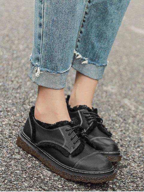 outfit Stitching Fringe Tie Up Flat Shoes - BLACK 38 Mobile
