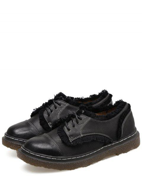 outfits Stitching Fringe Tie Up Flat Shoes - BLACK 39 Mobile