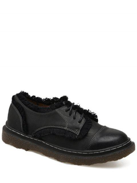Sketching Fringe Tie Up Flat Shoes - Noir 39 Mobile